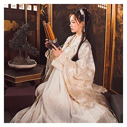 Traje vintage Tang traje antiguo Hanfu para mujer, traje tradicional chino, hada, princesa, danza nacional, disfraz hanfu (color: falda superior y abrigo, tamaño: XL.)