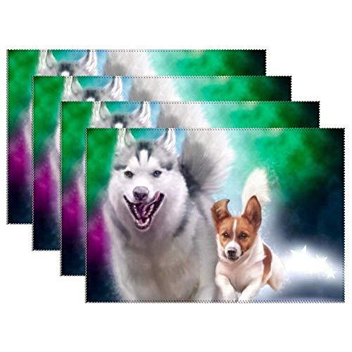 GuyIvan Manteles Individuales, Todos los Perros Van al Cielo Felices adorables Felpudos Antideslizantes Manteles Antideslizantes, 45x30 cm, Juego de 6