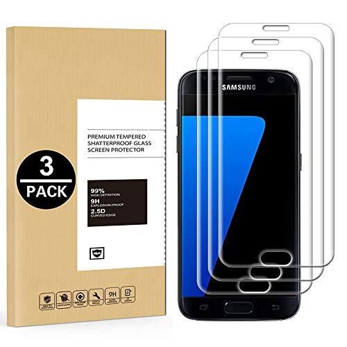Verre Trempé Samsung Galaxy S7 Edge [Lot de 3], Film Protection Ecran Vitre pour Samsung Galaxy S7 Edge [Dureté 9H] [Haut Définition Entièrement Transparent] Anti Rayure sans Bulles d'air