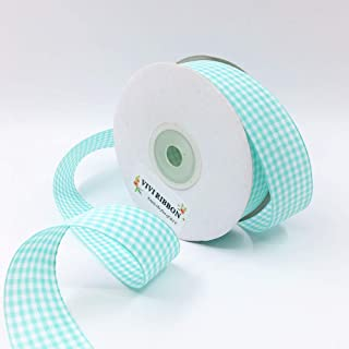 Blue Gingham Ribbon Checkered Ribbon1-Inch 25 Yard Each Roll 100% Polyester Woven Edge Picnic Ribbon for Crafts, Christmas Gift Packing, Wedding Decoration (Lake Blue)