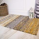 Murano Grey Ochre Yellow Mustard Gold Cream Striped Thick Shaggy Shag Warm Living Room Rug