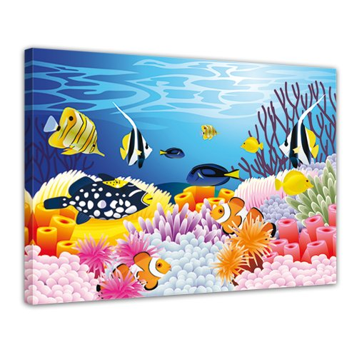 Bilderdepot24 Wandbild - Kinderbild - Leben im Meer - Cartoon - Bild auf Leinwand - 70x50 cm 1 teilig - Leinwandbilder - Wandbild