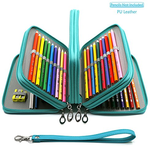 YOUSHARES 72 Slots Pencil Case - PU Leather Handy Multi-Layer Large Zipper Pen Bag with Handle Strap for Colored/Watercolor Pencil (Turquoise)