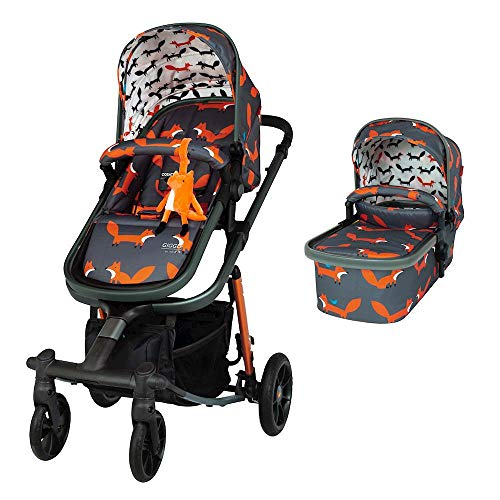 Cosatto Giggle Quad Pram & Pushchair – From Birth to 20kg, Lightweight, Compact Fold, Duo-directional Seat (Charcoal Mister Fox)