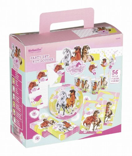 Riethmüller 552439 - Partykoffer Charming Horses 2, 56 teilig