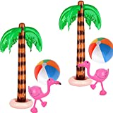 6 Pack Inflatable Palm Trees Inflatable Pink Flamingos and Colorful Beach Balls Rainbow Color Balls for Hawaiian Beach Party Decorations Beach Backdrop