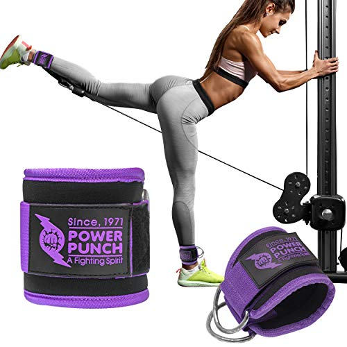 POWER PUNCH Ankle Straps for Cable Machines | Glute Workouts | Leg Workouts | Weight Machines | Leg Extensions | Cable Kickback | Neoprene Padded Support for Men and Women (Purple)