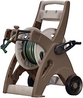 Suncast Hosemobile Garden Hose Reel Cart - Lightweight Portable Garden Cart with Wheels, Storage Tray, and Crank Handle - 175' Hose Capacity - Mocha and Taupe