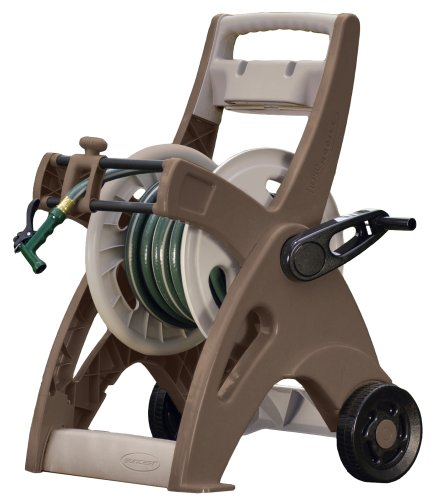 Suncast Hosemobile Garden Hose Reel Cart - Lightweight Portable Garden Cart with Wheels, Storage Tray, and Crank Handle - 175' Hose Capacity - Mocha and Taupe