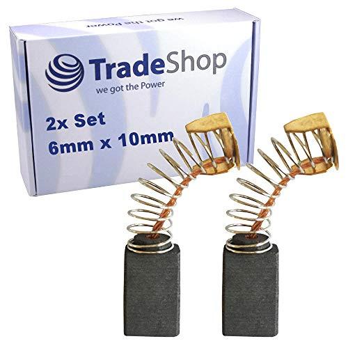 2x Schleifkohle 6mm x 10mm Kohlebürsten Motorkohlen 6x10 mm für Elektro-Werkzeug Winkelschleifer, Bandschleifer, Blechschere, Bohrhammer, Kreissäge