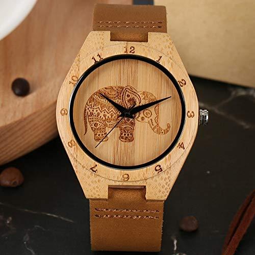 YJRIC Holzuhren Thailand Elefant Gravur Bambusuhr Herren Leder Holzuhr Quarz Armbanduhr Damenuhren Herren Uhr Stunden