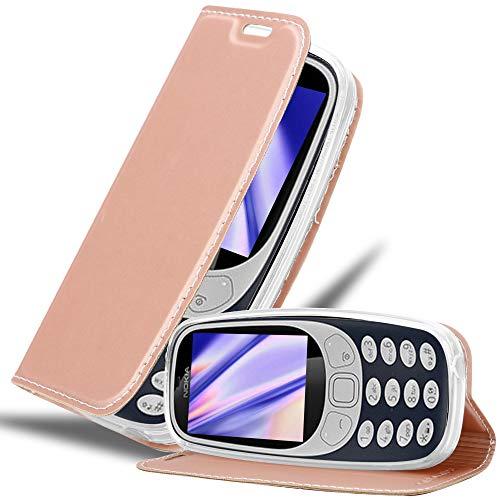 Cadorabo Hülle für Nokia 3310 in Classy ROSÉ Gold - Handyhülle mit Magnetverschluss, Standfunktion & Kartenfach - Hülle Cover Schutzhülle Etui Tasche Book Klapp Style
