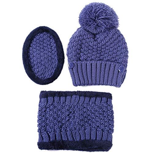 Amphia - Unisex Multifunktions Winter Warm Plus Samt Strick Slouchy Masks Mützen Kragen,Herren- und Damenhut Maske Lätzchen 3-teiliges Set aus multifunktionalem Strickmütze(Blue)