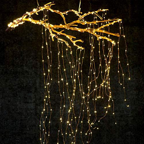 Wasserfall-Lichterketten, 10 Stränge 200 Leds hängende Glitzer-Lichterketten Solar- oder batteriebetrieben für Weihnachten, Hochzeit, Gartendekoration(Warmweiß)