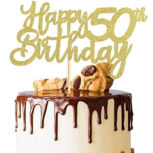 XCOZU 3 Stück Happy 50th Birthday Cake Topper, 50th Geburtstag Tortendeko Kuchendeko Torten Kuchen Cake Topper, Glitzer Gold Tortenstecker Girlande für Mann Frau 50 Geburtstag Party Dekoration