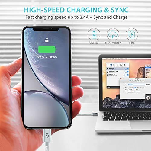 Syncwire iPhone Ladekabel Lightning Kabel - 2M [Apple MFi Zertifiziert] Super Schutz Schnell Apple USB Datenkabel für iPhone 11 Pro Max XS Max XR X 8 7 6s 6 Plus SE 5s 5c 5 iPad - Starkes Nylon