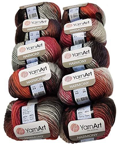 YarnArt Harmony Lot de 10 pelotes de laine à tricoter Multicolore avec dégradé de couleur, 500 g avec 60 % de laine (marron foncé, bordeaux gris A8)