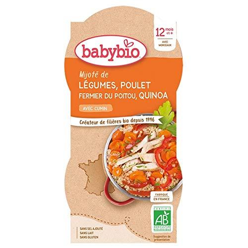 Babybio - Bols Mijoté de Légumes Poulet Fermier du Poitou Quinoa 2x200 g - 12+ Mois - BIO