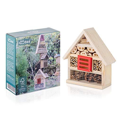 Möge   Insektenhotel aus Naturholz   Aufhängbares Insektenhaus für Bienen, Marienkäfer, Florfliegen & Schmetterlinge   Nisthilfe für Balkon & Garten   Größe:19 * 7 * 22CM
