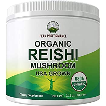 Organic Reishi Mushroom Powder  USA Grown  by Peak Performance USDA Organic Vegan Mushrooms Supplement for Immunity Support Naturally Harvested Adaptogenic Immune Support Extract Blend Powders