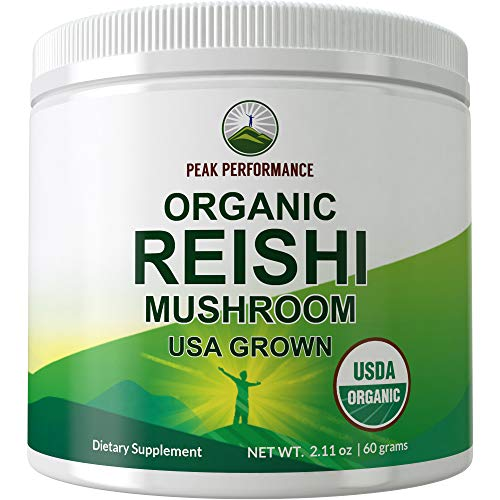 Organic Reishi Mushroom Powder (USA Grown) by Peak Performance. USDA Organic Vegan Mushrooms Supplement for Immunity Support. Naturally Harvested, Adaptogenic, Immune Support, Extract Blend Powders