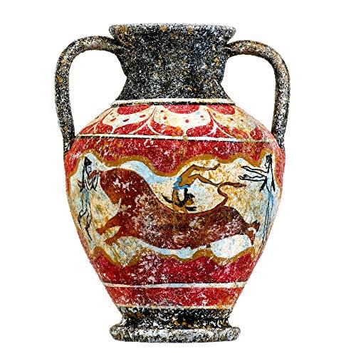 Beautifulgreekstatues - Vaso In Ceramica Con Antica Anfora Minoica Greca Fatto A Mano Con Affresco Toro -Saltando Murale S