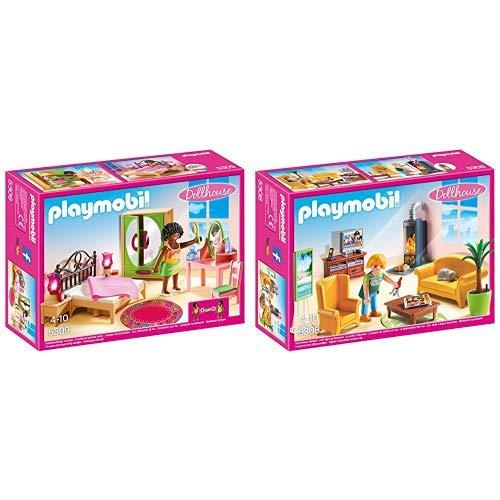 Playmobil 5309 - Schlafzimmer mit Schminktischchen &  5308 - Wohnzimmer mit Kaminofen