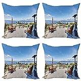 ABAKUHAUS Paisaje Set de 4 Fundas para Cojín, Casa Terraza Balcón, Estampado Digital en Ambos Lados y Cremallera, 60 cm x 60 cm, Multicolor