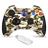 EasySMX 2.4G Wireless Controller for PS3, PC Gamepads with Vibration Fire Button Range up to 10m Support Windows PC, PS3, Android, Vista, TV Box Portable Gaming Joystick Handle (Camouflage Yellow)
