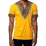 Junkai África Camisetas de Manga Corta con Cuello en V Floral Imprimir Camisetas Top Plus Size Shirt Amarillo M
