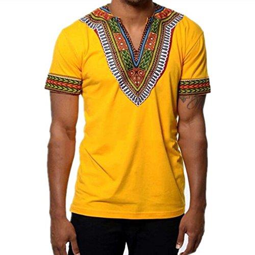 Yying Summer Camisetas Hombre Hip Hop Africano V Cuello Alargado panamá Camiseta de algodón Amarillo L