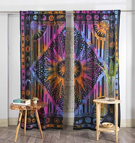 Popular Handicrafts Indian Burning Sun Hippie Mandala Window Curtains - Gypsy Tye Dye Bohemian Sun Moon Beautiful Drapery Bedroom Living Room Balcony Valance Panels Purple
