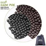 cyrico Slingshot Ammo Ball, 9-10mm Slingshot Clay Ammo Biodegradable 3/8 Inch, 1600 Pcs(Black+Brown)