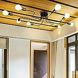 Industriel Plafonnier Vintage Luminaire Lampe Suspendue Créative Lustres En Métal E27 Noir avec 8 Bras pour Bureau Cuisine Chambre. (noir)