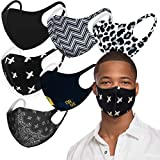 Light Weight Unisex Adult Fashion Face Covering, Reusable, Dust Proof, Washable, Cool 5 Mixed Colors (Assorted 6pk BLACK)