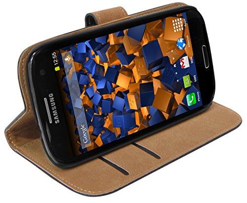 mumbi Echt Leder Bookstyle Case kompatibel mit Samsung Galaxy S3 / S3 Neo Hülle Leder Tasche Case Wallet, schwarz