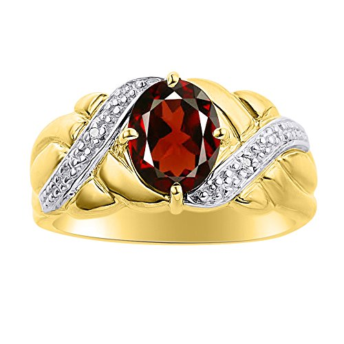 Juego de anillos de diamante y granate en oro amarillo de 14 quilates – piedra de color anillo de nacimiento