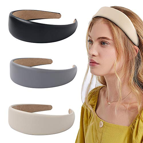 Headbands Women Hair Head Bands - 3 Wide Leather Headband Fashion Cute Hairbands Hair Accessories for Girls and Women Headbands Made of Soft PU (Classics Black Rich Soft Grey)