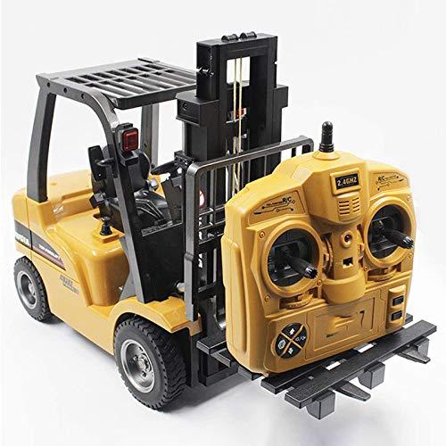 Carrello elevatore telecomandato in metallo 1/10 con gru cantiere RC con luce 8 canali 2.4G modello giocattolo costruzione wireless 360 ° rotante trasporto-giocattolo per bambini adulti regalo