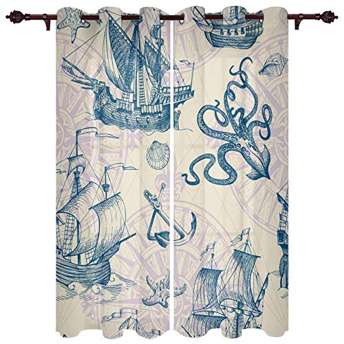 Thermal Insulated Grommet Curtains for Bedroom Living Room, Ocean Theme Octopus Boat Anchor Sailboat Geometric Vintage Drapes Home Decor Window Treatment Set 2 Panels 52x96inx2