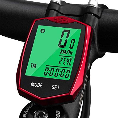 KOROSTRO Wasserdicht Fahrradcomputer Kabellos Tachometer LCD Backlight Drahtloser Sport Fahrrad Computer Kilometerzähler Radcomputer, Fahrradtacho für Radsport Realtime Speed Track und Distanz