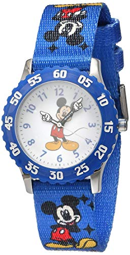 of disney watch bands dec 2021 theres one clear winner Disney Kids' W000232 Mickey Mouse Stainless Steel Time Teacher Watch with Blue Nylon Band