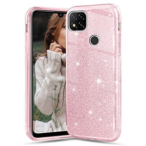 Solaxi-EU Funda para Xiaomi Redmi 9C, Glitter Crystal Ultra Delgada Suave Silicona TPU Transparente Brillante Liquid Crystal Color Purpurina Doble Capa Anti Choques Protectora Carcasa, Rosa