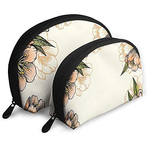 Patrón botánico y Flores de Verano Bolsas portátiles florecientes Bolsa de Maquillaje Bolsa de Aseo Bolsas de Viaje portátiles multifunción