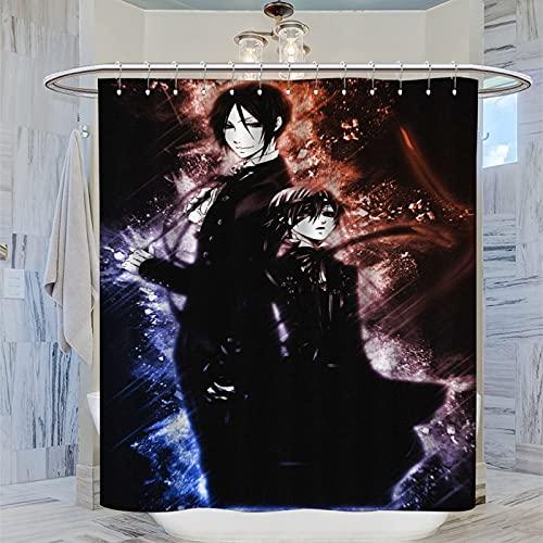 ERGF Black Butler Duschvorhang, Anti-Schimmel, schnell trocknend, Dekoration, Duschvorhang, Türperlen, Gardinen, 183 x 183 cm