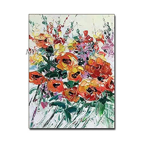 Living Equipment Hand Painted Oil Painting On Canvas,Palette Knife Flower Abstract Hand Painted Oil Painting Modern Artwork Abstract Wall Art Pop Picture,For Living Room Bedroom Home Decor,60 times