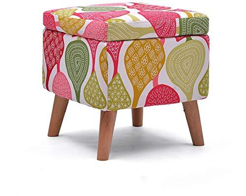 Los reposapiés, Los reposapiés cambian el taburete de zapatos con la tapa cuadrada de almacenamiento otomano reposapiés acolchado con madera de 4 patas de caramelo de caramelo asiento de tela for sala