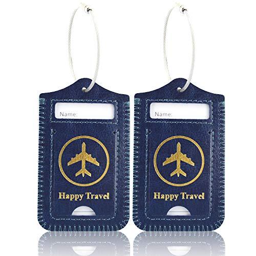 [2 Unidades] Etiquetas para Equipaje, ACdream Funda de Cuero para Equipaje Etiquetas de Viaje