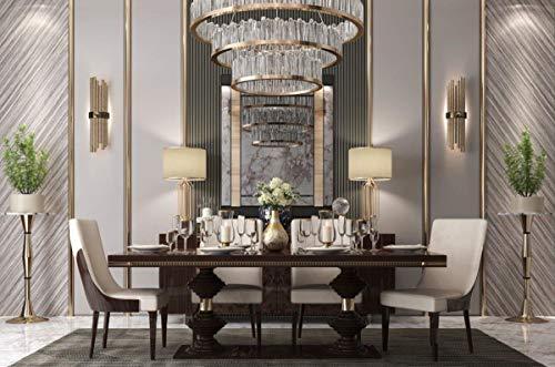 Casa Padrino Luxus Art Deco Esszimmer Stuhl Set Beige/Dunkelbraun Hochglanz - Küchen Stühle 6er Set - Edle Art Deco Esszimmer Möbel