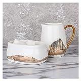 liangzishop Salsera Juego de azúcar y Crema de Porcelana para café y té Jarra de Crema Multifuncional con Mango/azúcar/Taza de Leche pequeña Borde de Oro Platillo (Style : C)